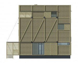 Wood Patchwork House - Elevation 1 - Interior Architecture Art
