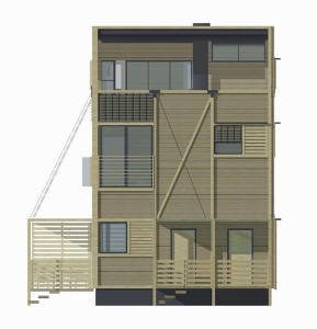 Wood Patchwork House - Elevation 2 - Interior Architecture Art