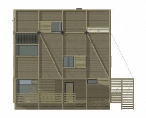 Wood Patchwork House - Elevation 3 - Interior Architecture Art