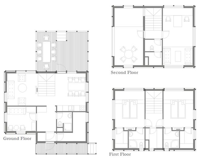 Wood Patchwork House - Plan - Interior Architecture Art